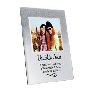 Personalised Heart & Swirl 4x4 Glitter Glass Photo Frame