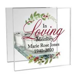 Personalised In Loving Memory Christmas Mirrored Glass Tea Light Candle Holder
