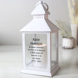 Personalised Memorial White Lantern
