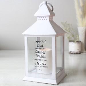 "Personalised ""Your Light Shines Bright"" White Lantern"