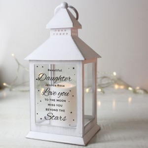 "Personalised ""Miss You Beyond The Stars"" White Lantern"