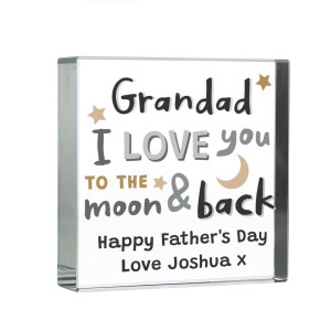 Personalised To the Moon and Back Large Crystal Token