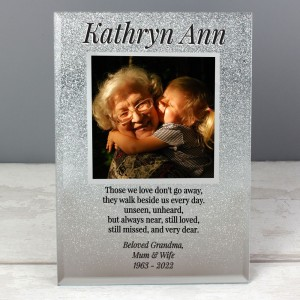 Personalised Memorial 4x4 Glitter Glass Photo Frame