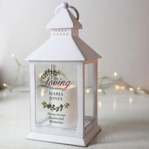 Personalised In Loving Memory White Lantern
