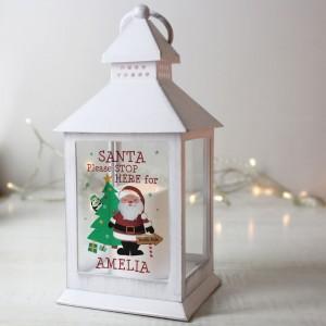 Personalised Santa White Lantern
