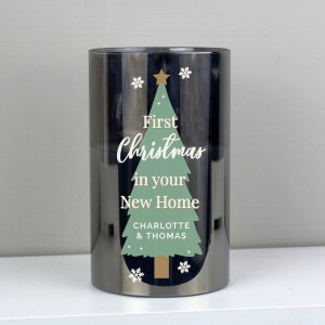 Personalised Christmas Tree Smoked Glass LED Candle