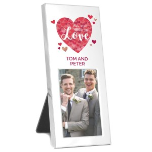 "Personalised ""All You Need is Love"" Confetti Hearts 3x2 Photo Frame"