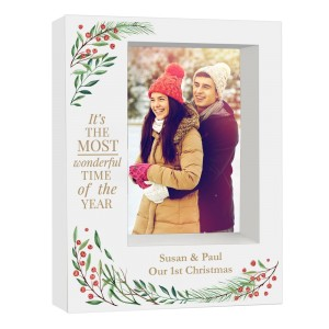 "Personalised ""Wonderful Time of The Year Christmas"" 5x7 Box Photo Frame"