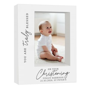 "Personalised ""Truly Blessed"" Christening 5x7 Box Photo Frame"