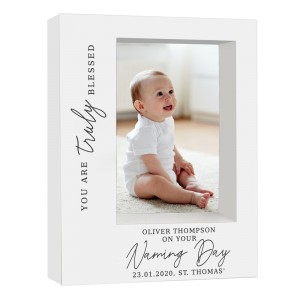 "Personalised ""Truly Blessed"" Naming Day 5x7 Box Photo Frame"