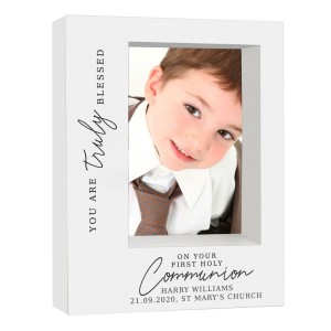 "Personalised ""Truly Blessed"" First Holy Communion 7x5 Box Photo Frame"