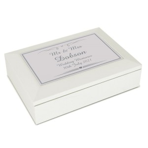 Personalised Silver Elegant Wooden Jewellery Box