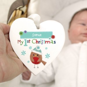 "Personalised Felt Stitch Robin ""My 1st Christmas"" Wooden Heart Decoration"