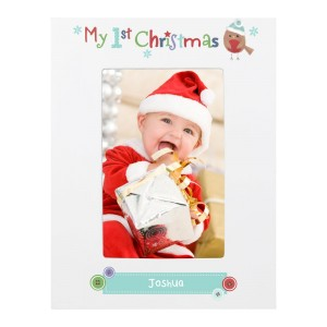 Personalised Felt Stitch Robin My 1st Christmas 4x6 White Wooden Photo Frame