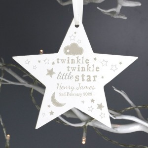 Personalised Twinkle Twinkle Wooden Star Decoration