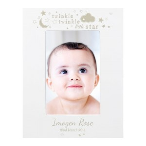 Personalised Twinkle Twinkle 4x6 White Wooden Frame