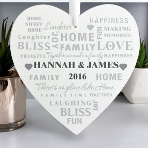 Personalised Family Typography 22cm Large Wooden Heart Decoration