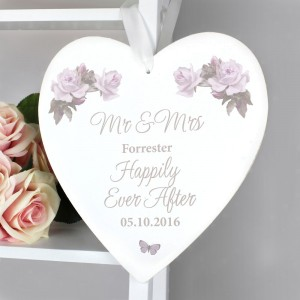 Personalised Vintage Floral 22cm Large Wooden Heart Decoration
