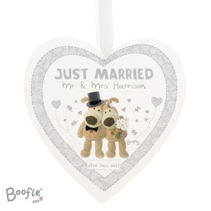 Personalised Boofle Wedding 22cm Large Wooden Heart Decoration