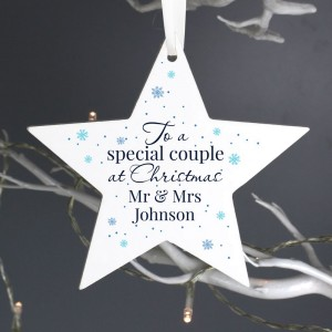 Personalised Special Couple Wooden Star Decoration