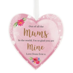 Personalised Floral Watercolour 22cm Large Wooden Heart Decoration