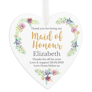 "Personalised Maid of Honour ""Floral Watercolour Wedding"" Large Wooden Heart Decoration"