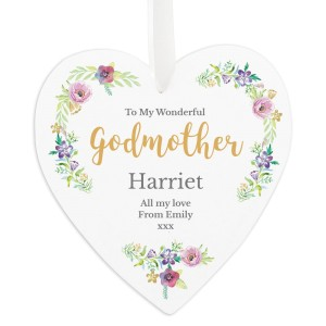 "Personalised Any Role ""Floral Watercolour"" 22cm Large Wooden Heart Decoration"