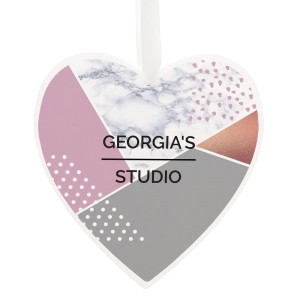 Personalised Geometric Large Wooden Heart Decoration