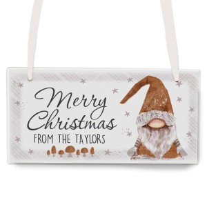 Personalised Scandinavian Gnome Wooden Sign