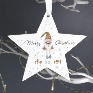 Personalised Scandinavian Christmas Gnome Wooden Star Decoration