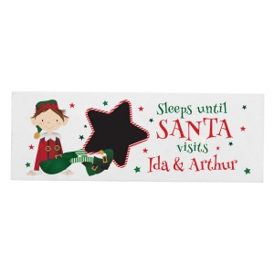 Personalised Elf Christmas Chalk Countdown Wooden Block Sign