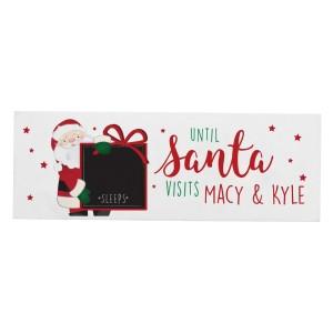 Personalised Santa Christmas Chalk Countdown Wooden Block Sign