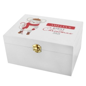 "Personalised ""1st Christmas"" Mouse White Wooden Keepsake Box"