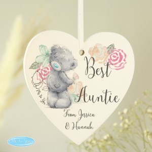 Personalised Me to You Floral Wooden Heart Decoration