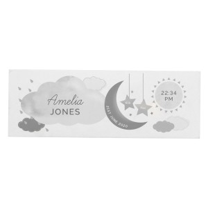 Personalised New Baby Moon & Stars Wooden Block Nursery Sign