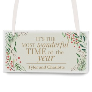 "Personalised ""Wonderful Time of The Year"" Christmas Wooden Sign"