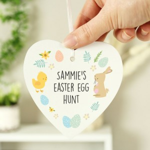 Personalised Easter Bunny & Chick Wooden Heart Decoration