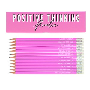 Personalised Positive Thinking Box and 12 Pink HB Pencils