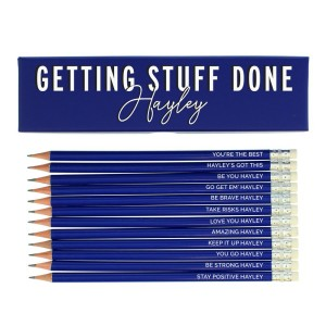 Personalised Getting Stuff Done Box and 12 Blue HB Pencils