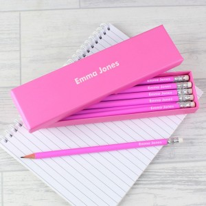 Personalised Name Only Box and 12 Pink HB Pencils