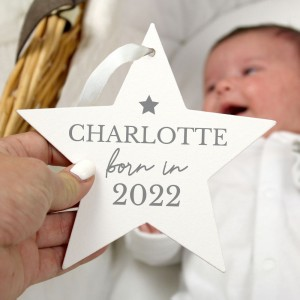 Personalised Born In Wooden Star Decoration