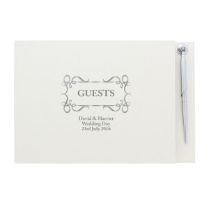 Personalised Swirl Design Hardback Guest Book & Pen