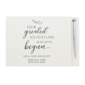Personalised Greatest Adventure Wedding Hardback Guest Book & Pen