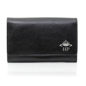 Personalised Crown Black Leather Purse