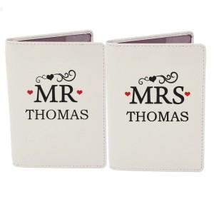 Personalised Mr & Mrs Cream Passport Holders