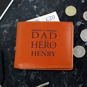 Personalised My Dad is My Hero Tan Leather Wallet
