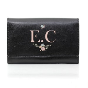 Personalised Floral Bouquet Black Purse