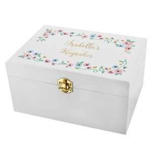 Personalised Fairytale Floral White Wooden Keepsake Box