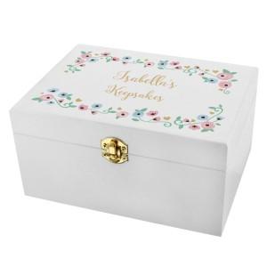 Personalised Fairytale Floral White Wooden Keepsake Box