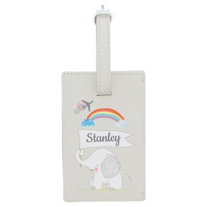 Personalised Hessian Elephant Cream Luggage Tag